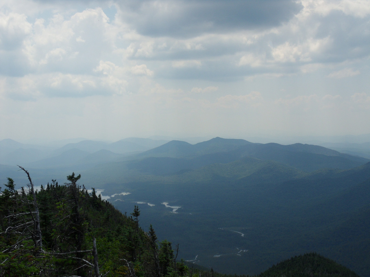 Beautiful views south off Nippletop to Ausable River and Elk Lake.