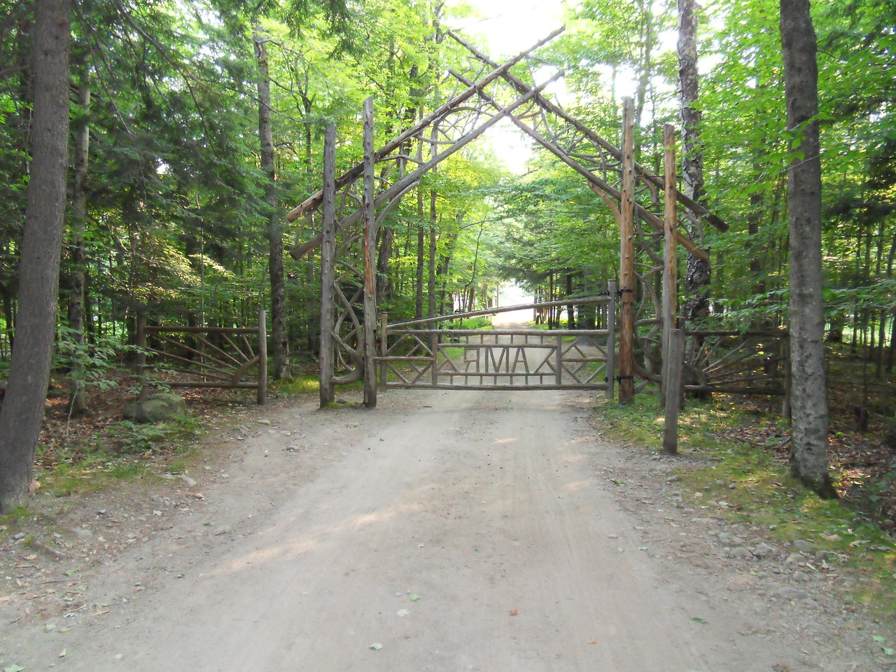 "The famous ""gate"" at the AuSable Club onto the Adirondack Mountain Reserve Easement. No looking back now. Well, after this last look back."