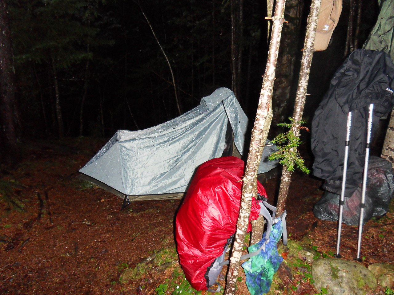 Lean-to's were full so we set up the tent in the rain (at 10pm), ate some dinner and went to bed. We got a big day ahead of us...