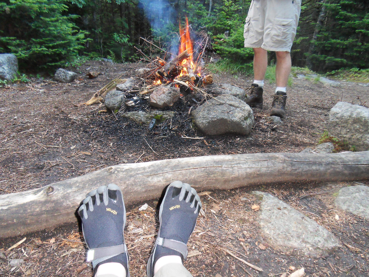 My new Vibram 5 Fingers. They are extremely lightweight camp shoes, and comfortable. We actually saw a few people hiking the trail in these and all say how great they are! Take my word for it, only knuckleheads hike high peaks in these slippers. They speak not the truth of comfort. They are manly men in their minds only. Wear boots like the rest of us, or risk breaking an ankle.