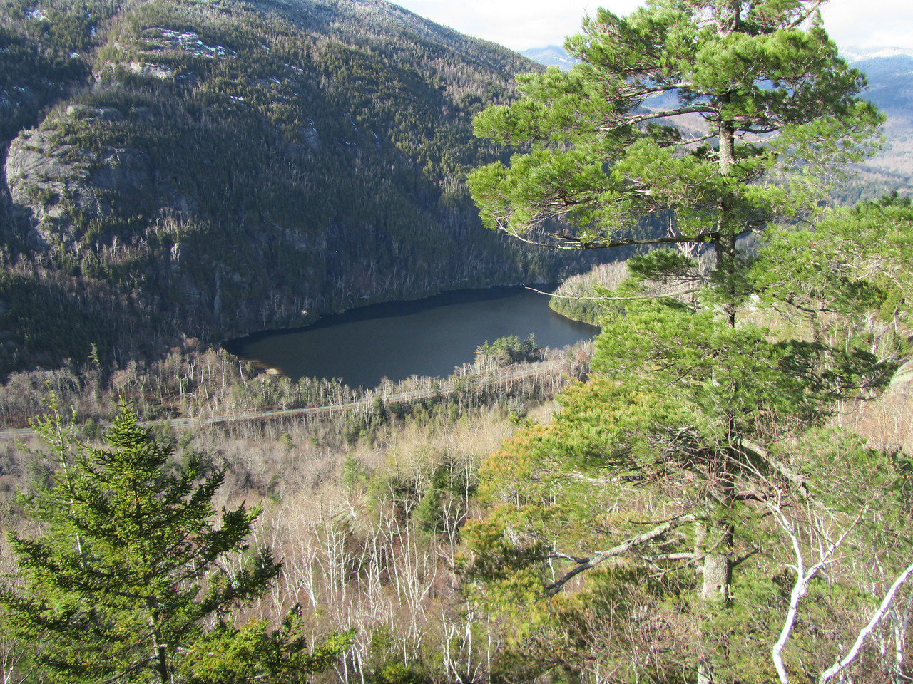 Chapel pond from the first rock face. Route 73 is in the foreground.