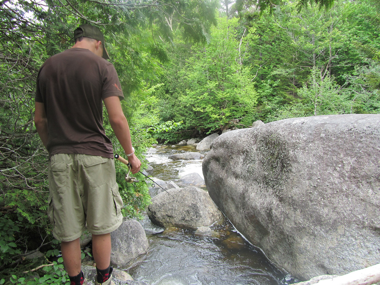 Brad seeking the elusive native brook trout about a 1/4 mile below Marcy dam on Marcy creek.