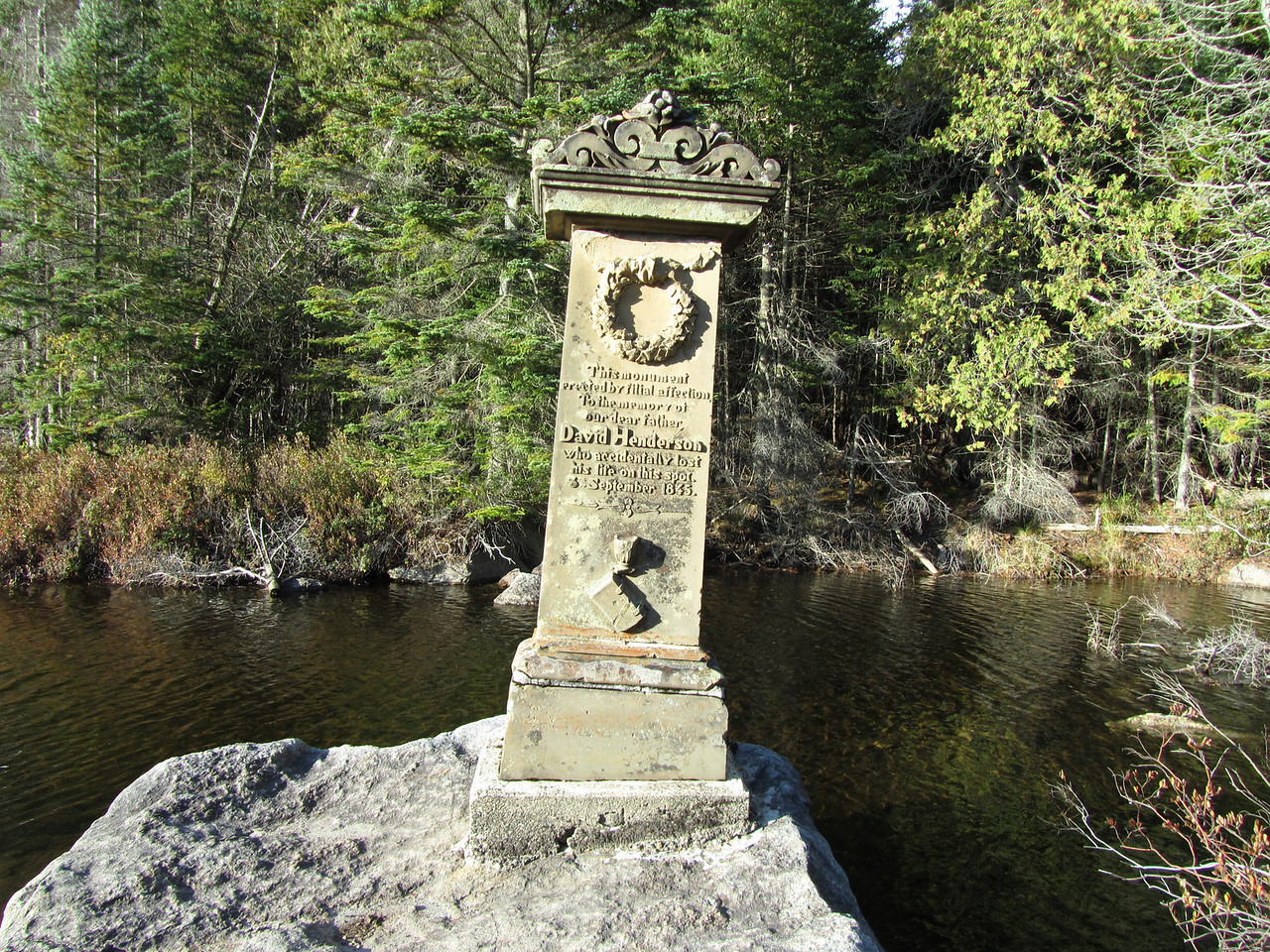 David Henderson memorial at the mouth of Henderson Lake.