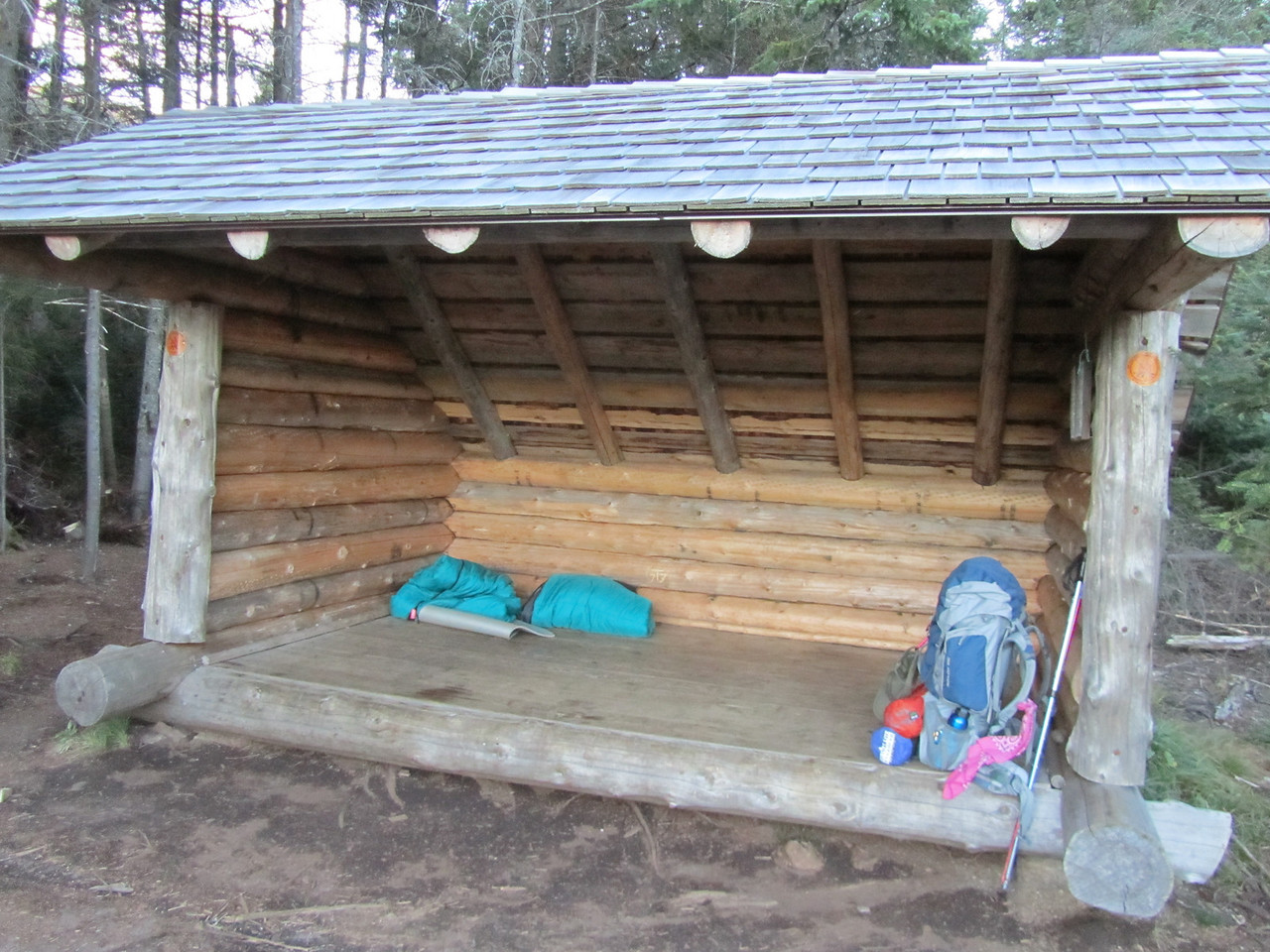 We initially picked this lean-to but the wind across the bog was horrific, so Tim raced off and reserved the lean-to at Colden Dam across the Opalescent creek.