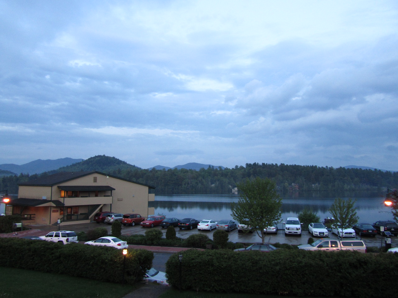 The view from my balcony. Mirror lake with a few high peaks in the background. I took this after dinner at Adirondack Steak and Seafood.
