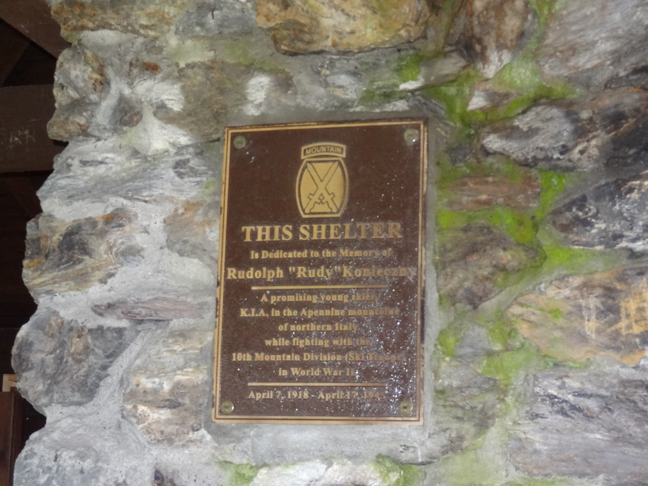 Today the Thunderbolt Ski Shelter exits as it did in the 1940's.  The fireplaces in the center of the building can still be used to warm frozen toes before a run down the Thunderbolt.  In 1999,  the shelter was dedicated to Rudy Konieczny during a ceremony on the summit.  Rudy was Adams' most talented downhill skier.  He served with the 10th Mountain Division during WWII and was killed in action in April of 1945.