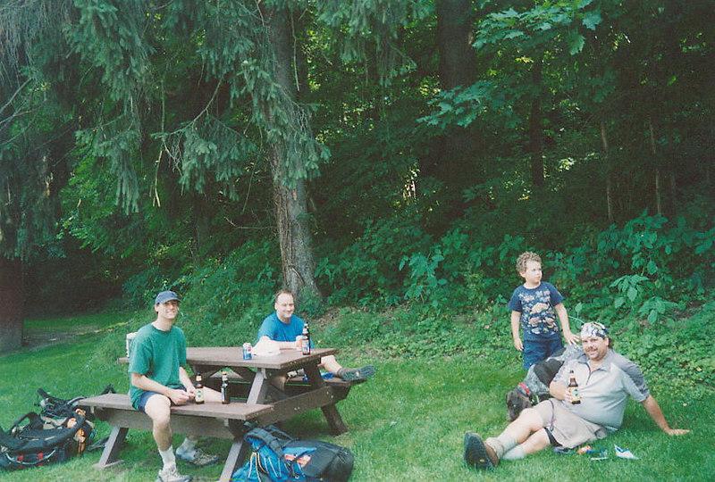 Dave, Tim, JJ, Jenny the dog & Jeff enjoying BEvERages in Delaware Water Gap, PA