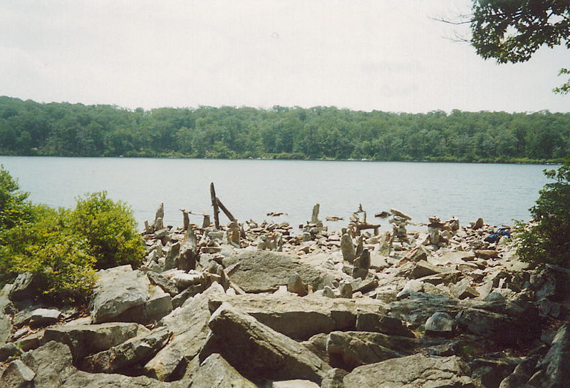 Rock statues at Sunfish Pond - the southernmost glacial pond in the U.S.