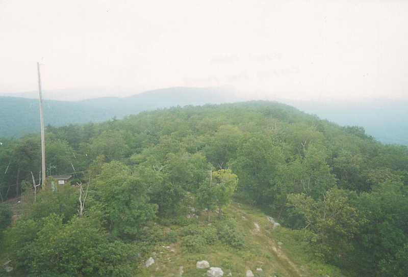 Hazy ridgetop view (southbound) from the Catfish fire tower
