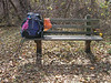 Park bench in Sky Meadows State Park - a perfect place for a rest break