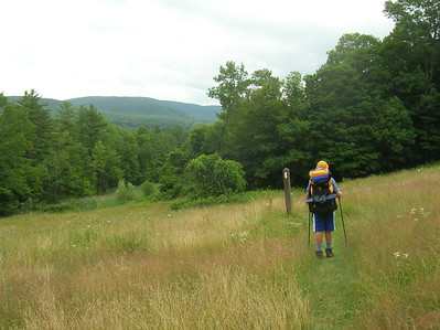 JJ heading down into the Tyringham Valley with Baldy Mountain in the background.