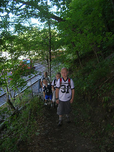 Cam, Ethan, Adam and Tim starting the climb up from Route 322