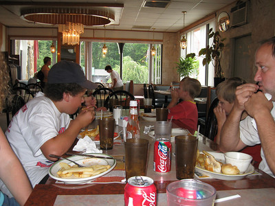 Celebrating the end of the hike at the Delaware Water Gap Diner.