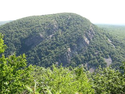 Mt. Tammany in New Jersey - viewd from Mt. Minsi in Pennylvania.  The Delaware Water Gap is in-between.