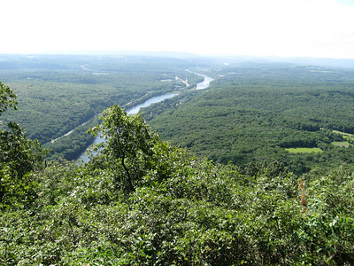 The DElaware River separating New Jersey (left) and Pennsylvania (right).