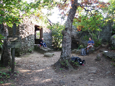 Ed the hiker and Tim relax at the Blood Mountain Shelter.