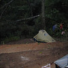 Smoking Sox campsite hidden behind the poison ivy tree.
