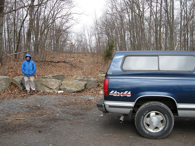 A site for sore eyes - Smoking Sox and the trusty Chevy waiting in Fox Gap at the end of a 42.6-mile section hike.