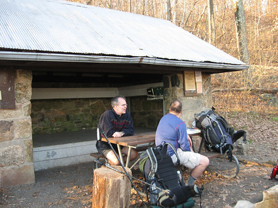 At the Gravel Springs Hut, Sheep's Head and Smoking Sox discuss how we got separated during today's hike.