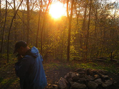 Tim hides his face from the sunrise at the Mark Noepel Shelter.
