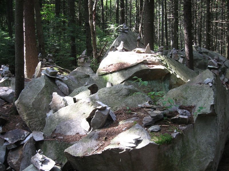 Collection of cairns on White Rocks Mountain.