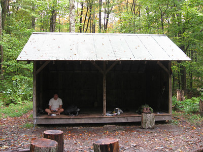 Saturday lunch at the Stony Brook Shelter.  Not much, but it was dry.