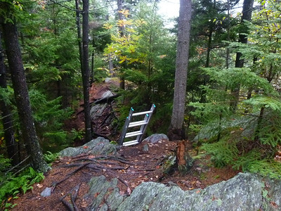 Lots of rain on this 3 day section, but the camera had to come out for the picture of the ladder roped to the rockface.