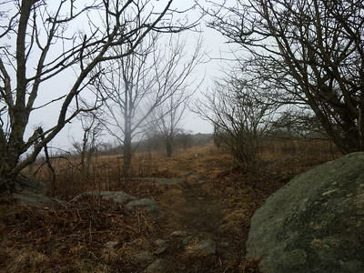 Approach to Buzzard Rock with bad weather rolling in.