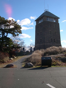 The Perkins Tower and 45 mph wind gusts - both on the summit of Bear Mountain