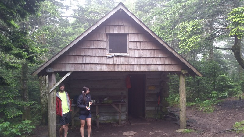 Roan High Knob shelter in between rain showers