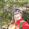 Selfie on a trailside bench.  I'm smiling because my pack is light and I'm hiking back down to the valley (again).