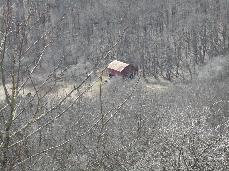 Last views of the Overmountain shelter from the northbound trail
