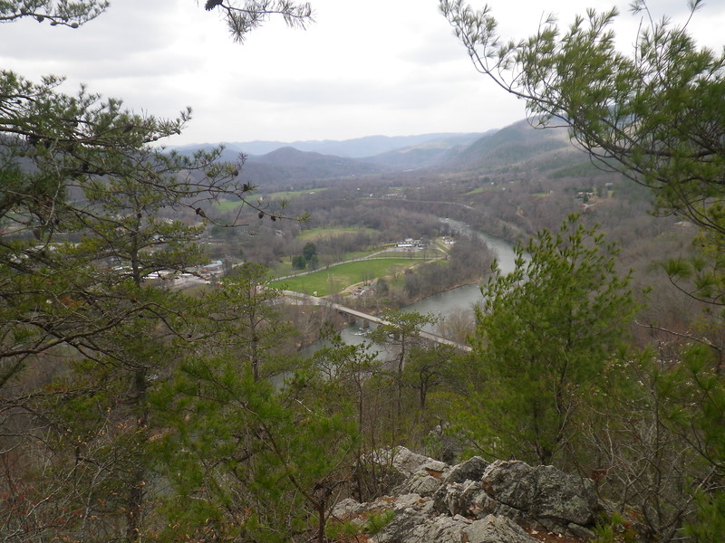 The view of the Hot Springs Resort and the French Broad River from Lover's Leap.