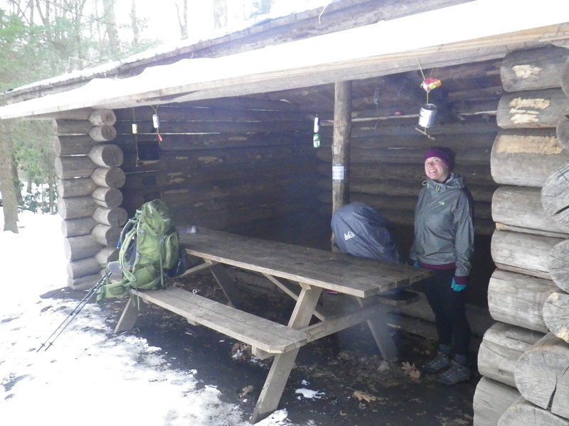 A quick snack stop at the Roaring Fork shelter