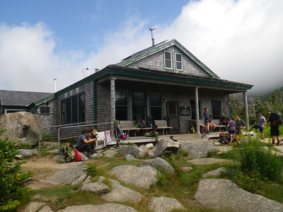 A combination of thru hikers, section hikers, and day hikers meet up at the Galehead Hut