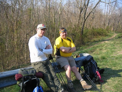 Mike & Jeff resting before the climb up to the Weverton cliffs.