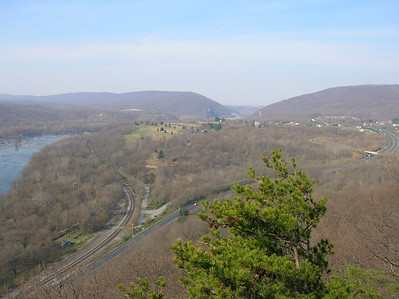 The view from Weverton Cliffs with U.S. 340 and the Potomac River