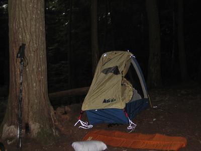 Smoking Sox's tent at the Race Brook site