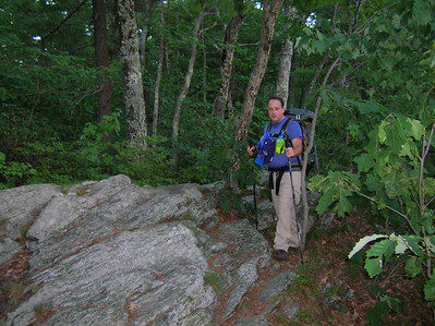 Smoking Sox working his way up the Race Brook Falls trail