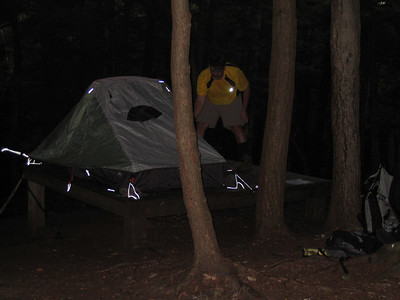 Setting up camp at the Race Brook site
