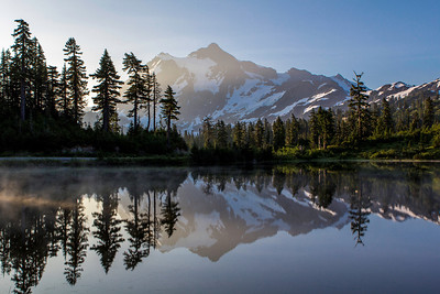 This is Picture Lake, with the reflection of Mount Shuksan.  The clouds around the mountain wouldn't let me get a nice crisp photo.