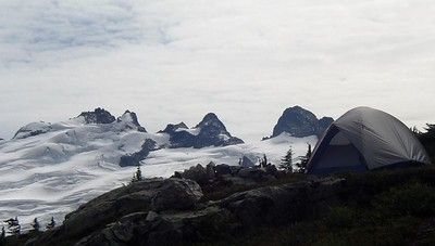 Our campsite with Mt. Challenger in the distance.