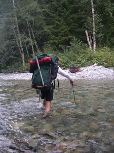 Scott crossing the Chilliwack river.