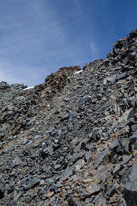 the scree slope that we had to climb.