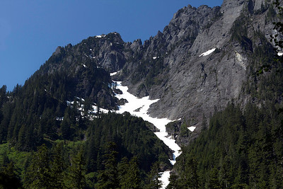 Still snow up in the mountains in July.  That should be around 6,000 feet.