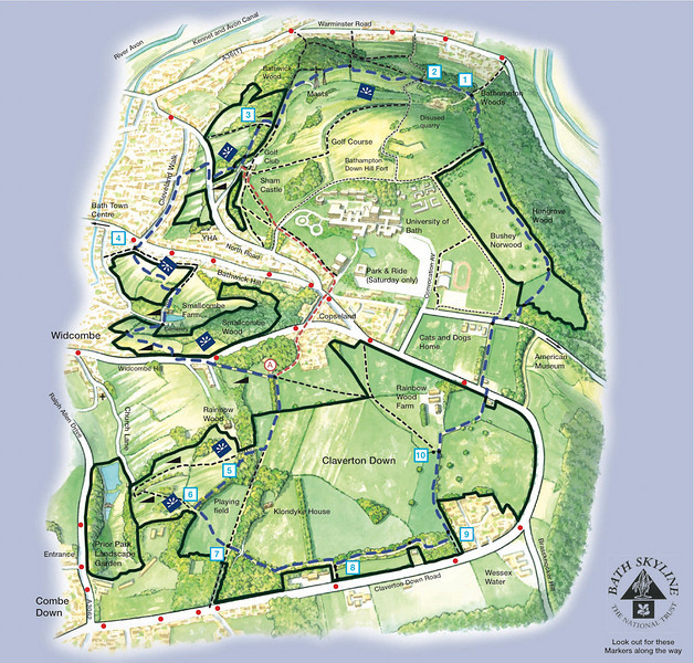 Bath Skyline Walk Map Bath Skyline   EdMartin Bath Skyline Walk Map