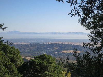 Looking down at the area near Dumbarton Bridge (not visible in fog over San Francisco Bay).