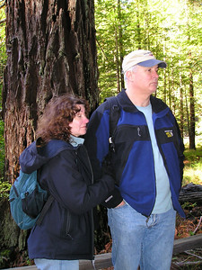 Linda and Paul stand in front of a smaller redwood and listen to the nature talk.