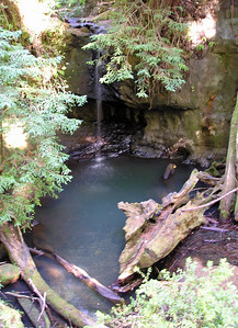 Sempervirens Falls is, at this time of year, a delicate stream of water falling into a broad, still pool below, nestled in the darkness of a redwood forest. (Longer exposure, no tripod.)