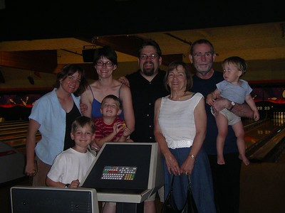 Birthday party at the bowling alley: Birthday Girl Me,  Tracie, Birthday Boy Joel, Dad, Lucas, Sam, Miles, Mom.